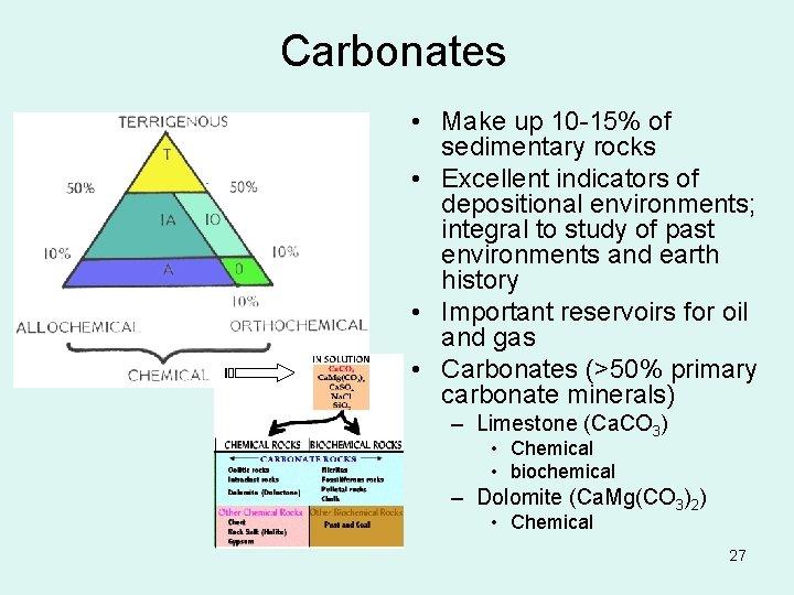 Carbonates • Make up 10 -15% of sedimentary rocks • Excellent indicators of depositional