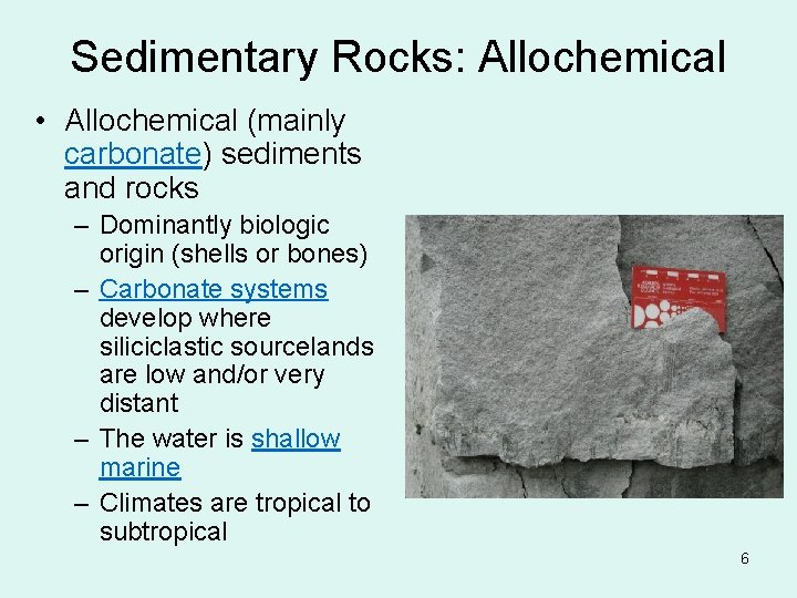 Sedimentary Rocks: Allochemical • Allochemical (mainly carbonate) sediments and rocks – Dominantly biologic origin
