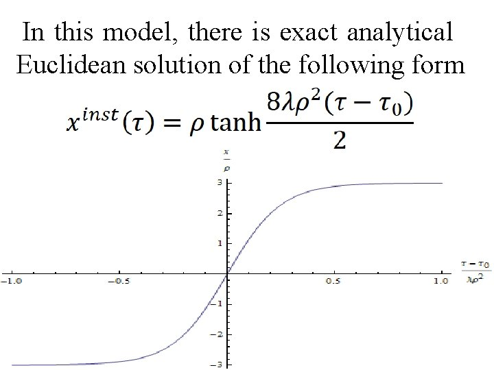 In this model, there is exact analytical Euclidean solution of the following form