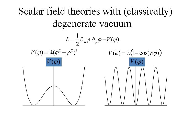 Scalar field theories with (classically) degenerate vacuum