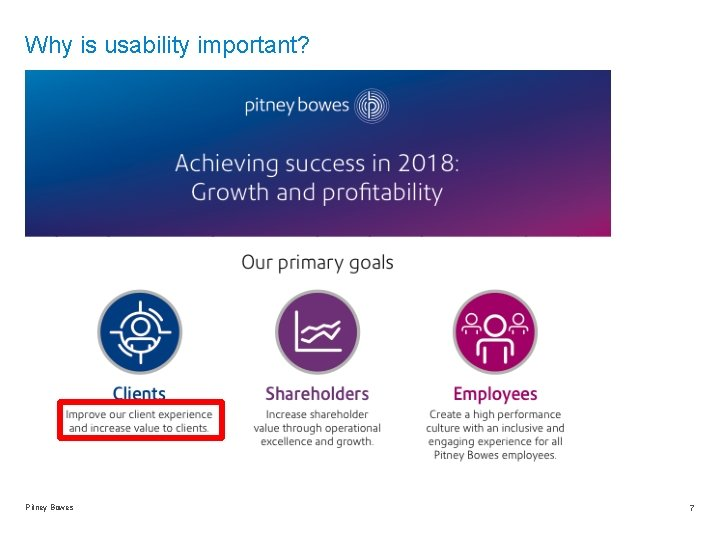 Why is usability important? Pitney Bowes 7