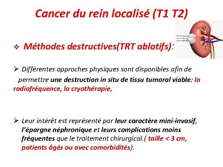Cancer du rein localisé (T 1 T 2) v Méthodes destructives(TRT ablatifs): Différentes approches