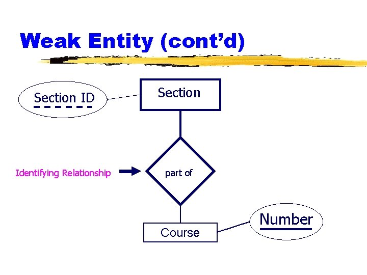 Weak Entity (cont'd) Section ID Identifying Relationship Section part of Course Number