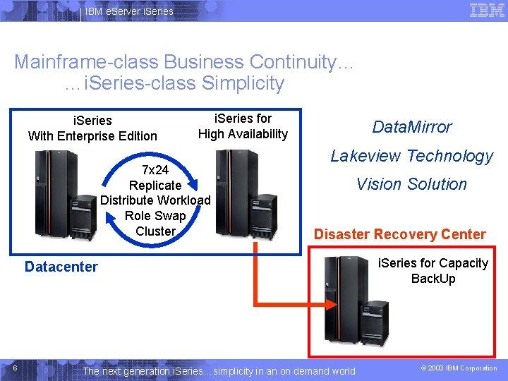 IBM e. Server i. Series Mainframe-class Business Continuity… …i. Series-class Simplicity i. Series With