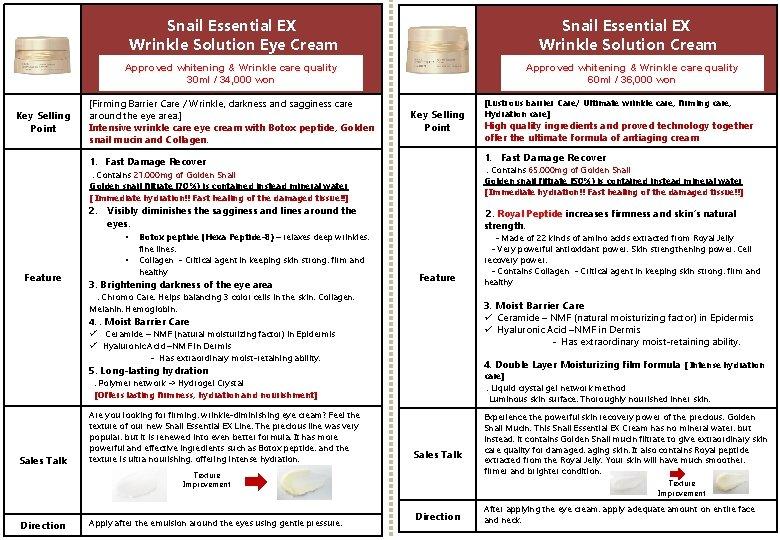 Snail Essential EX Wrinkle Solution Eye Cream Snail Essential EX Wrinkle Solution Cream Approved