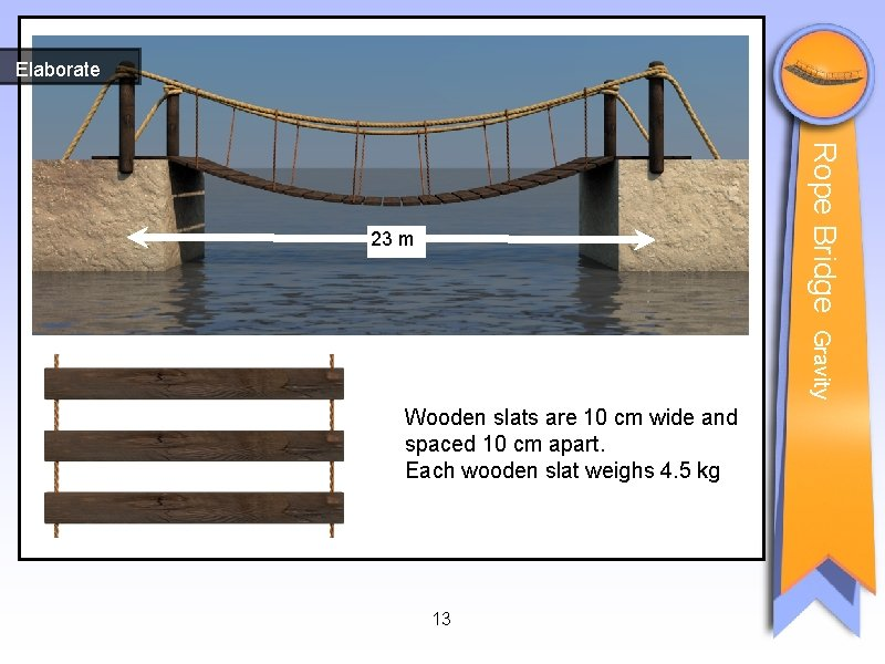 Elaborate Rope Bridge 23 m Gravity Wooden slats are 10 cm wide and spaced