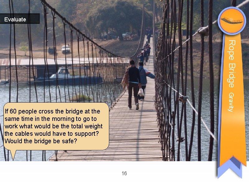 Evaluate Rope Bridge Gravity If 60 people cross the bridge at the same time