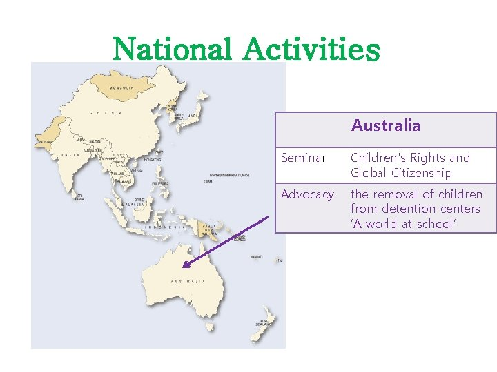 National Activities Australia Seminar Children's Rights and Global Citizenship Advocacy the removal of children