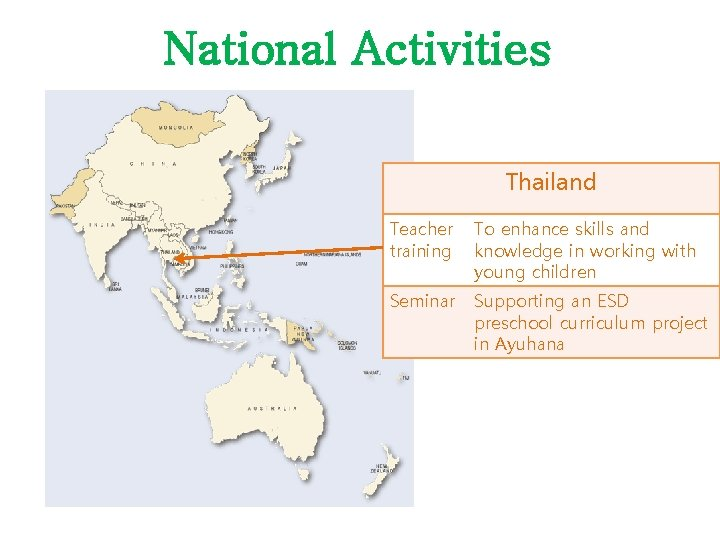 National Activities Thailand Teacher training To enhance skills and knowledge in working with young