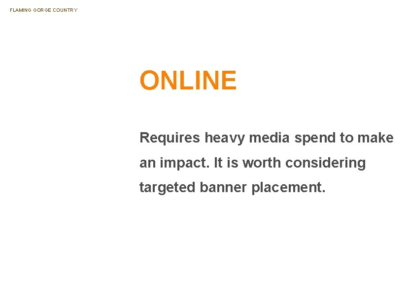 FLAMING GORGE COUNTRY ONLINE Requires heavy media spend to make an impact. It is