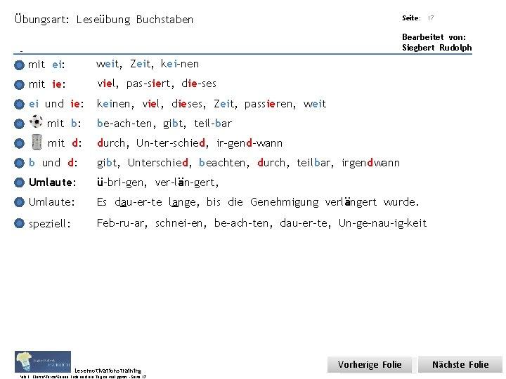 Übungsart: Leseübung Buchstaben Titel: Quelle: mit ei: weit, Zeit, kei-nen mit ie: viel, pas-siert,