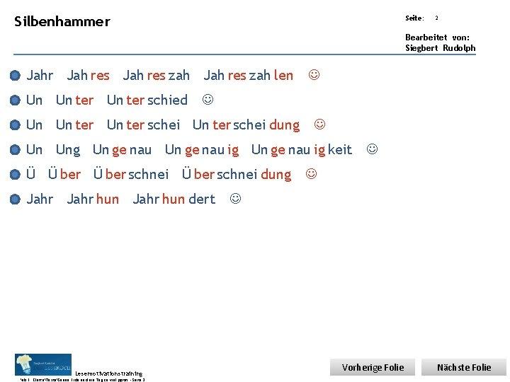 Übungsart: Silbenhammer Seite: 2 Bearbeitet von: Siegbert Rudolph Jahr Jah res zah len Un