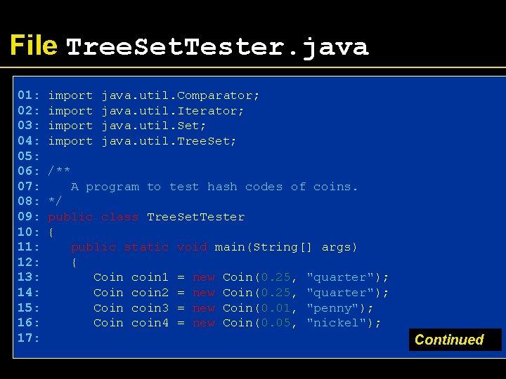 File Tree. Set. Tester. java 01: 02: 03: 04: 05: 06: 07: 08: 09: