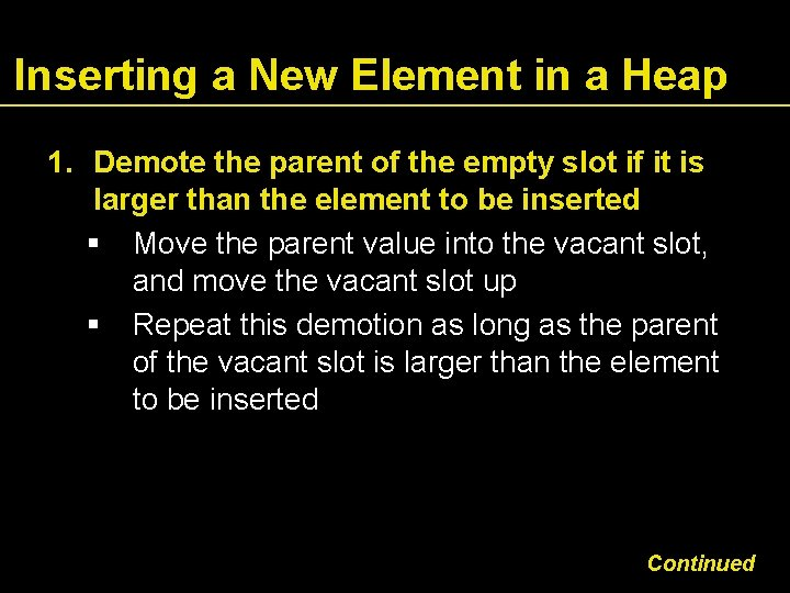 Inserting a New Element in a Heap 1. Demote the parent of the empty