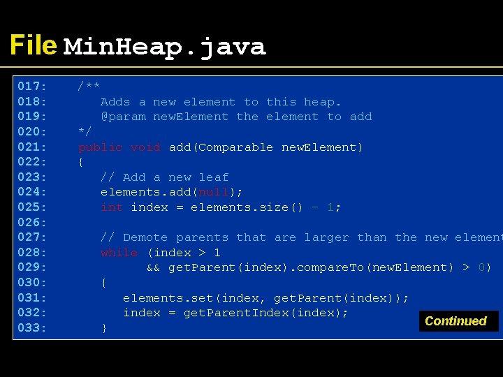 File Min. Heap. java 017: 018: 019: 020: 021: 022: 023: 024: 025: 026: