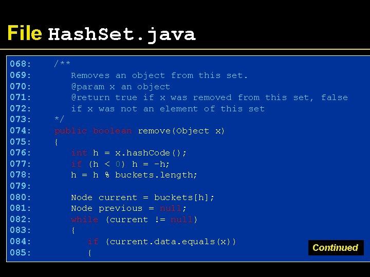 File Hash. Set. java 068: 069: 070: 071: 072: 073: 074: 075: 076: 077:
