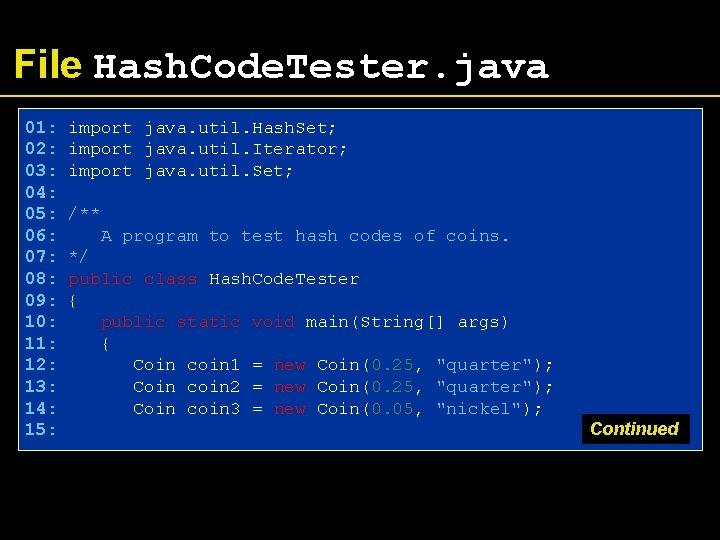 File Hash. Code. Tester. java 01: 02: 03: 04: 05: 06: 07: 08: 09: