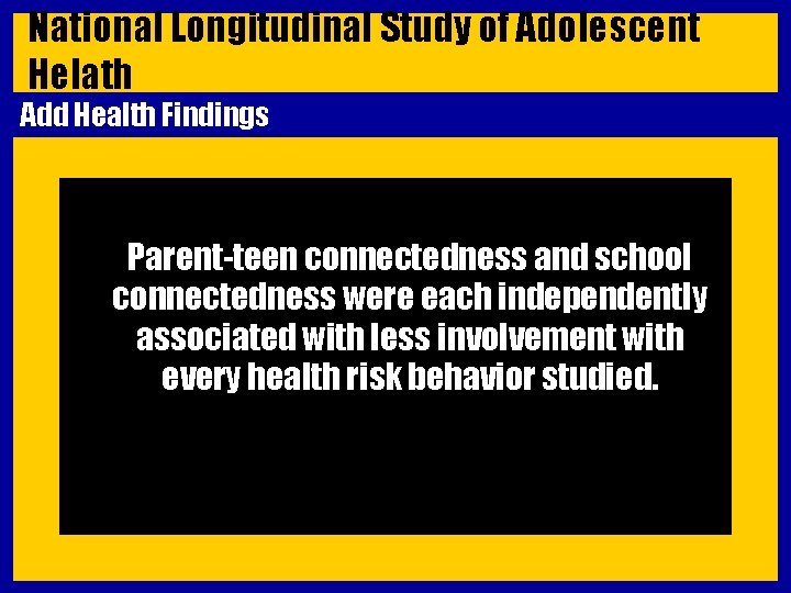 National Longitudinal Study of Adolescent Helath Add Health Findings Parent-teen connectedness and school connectedness