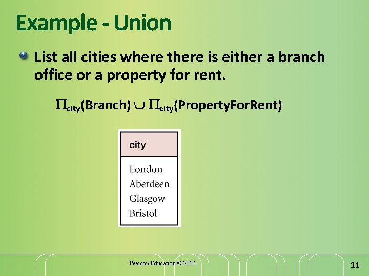 Example - Union List all cities where there is either a branch office or