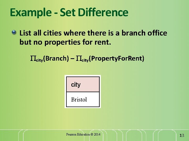 Example - Set Difference List all cities where there is a branch office but
