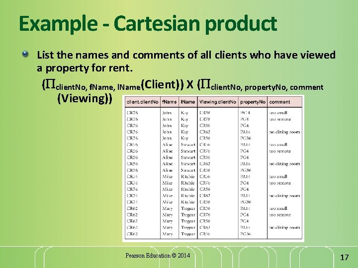 Example - Cartesian product List the names and comments of all clients who have
