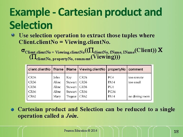 Example - Cartesian product and Selection Use selection operation to extract those tuples where
