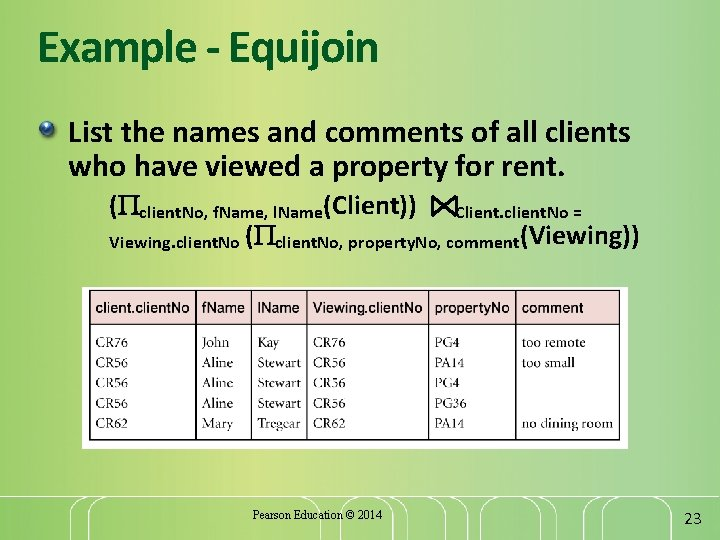 Example - Equijoin List the names and comments of all clients who have viewed