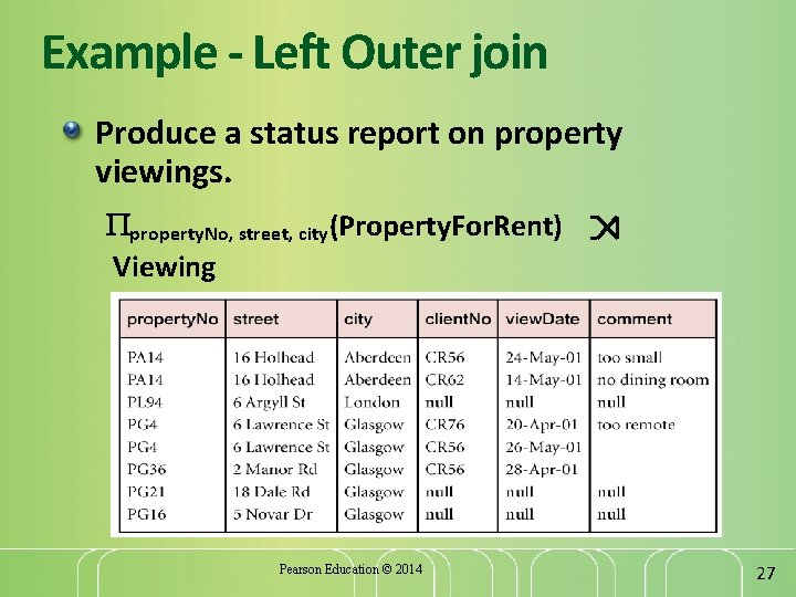 Example - Left Outer join Produce a status report on property viewings. property. No,
