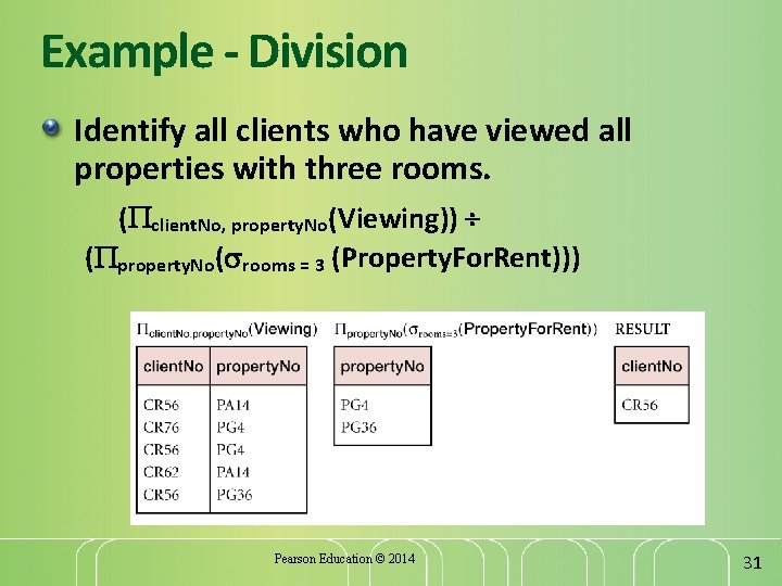 Example - Division Identify all clients who have viewed all properties with three rooms.