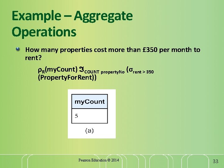 Example – Aggregate Operations How many properties cost more than £ 350 per month
