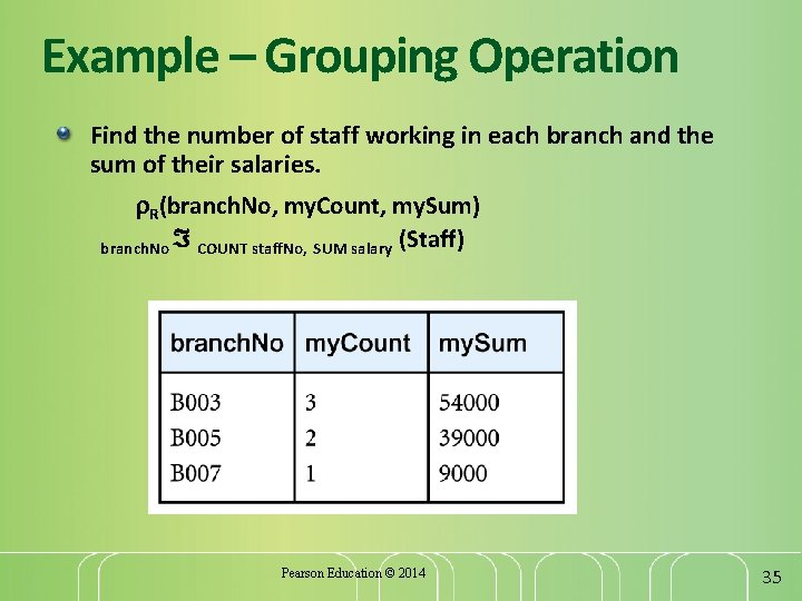 Example – Grouping Operation Find the number of staff working in each branch and