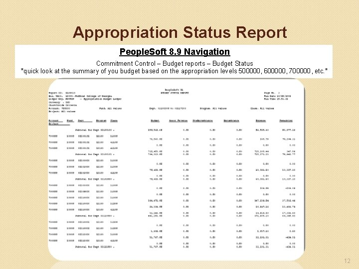 Appropriation Status Report People. Soft 8. 9 Navigation Commitment Control – Budget reports –