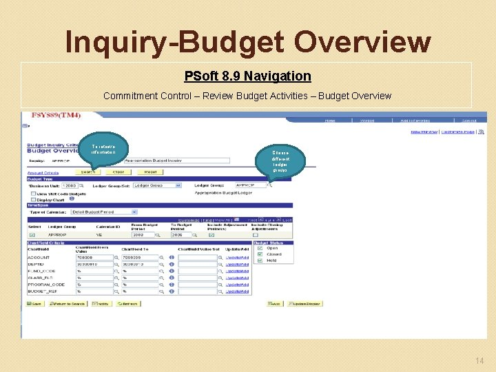 Inquiry-Budget Overview PSoft 8. 9 Navigation Commitment Control – Review Budget Activities – Budget