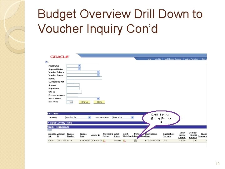 Budget Overview Drill Down to Voucher Inquiry Con'd Drill Down – Go to Check