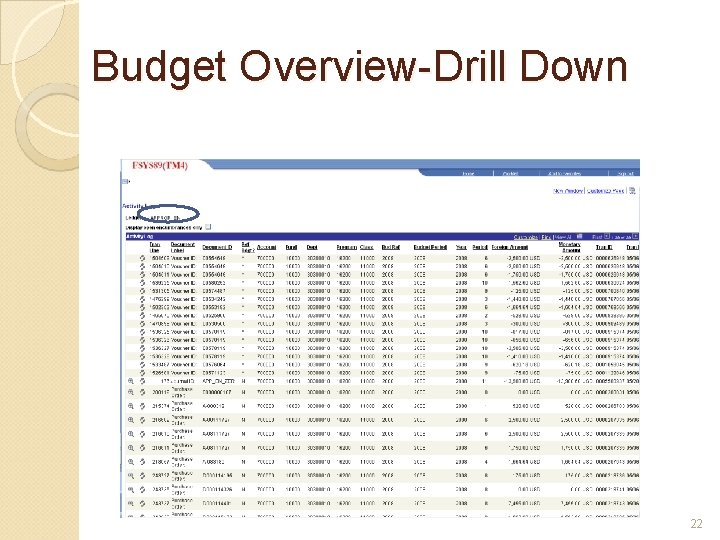 Budget Overview-Drill Down 22