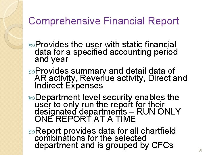 Comprehensive Financial Report Provides the user with static financial data for a specified accounting