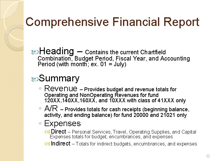 Comprehensive Financial Report Heading – Contains the current Chartfield Combination, Budget Period, Fiscal Year,