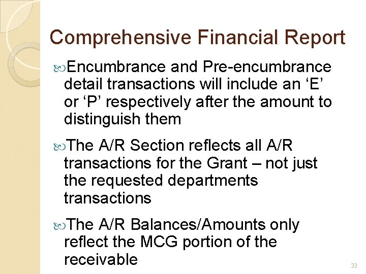 Comprehensive Financial Report Encumbrance and Pre-encumbrance detail transactions will include an 'E' or 'P'