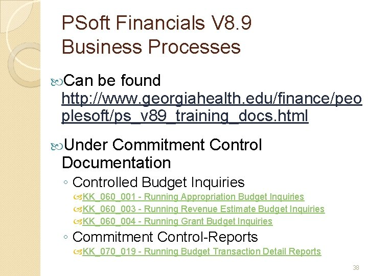 PSoft Financials V 8. 9 Business Processes Can be found http: //www. georgiahealth. edu/finance/peo