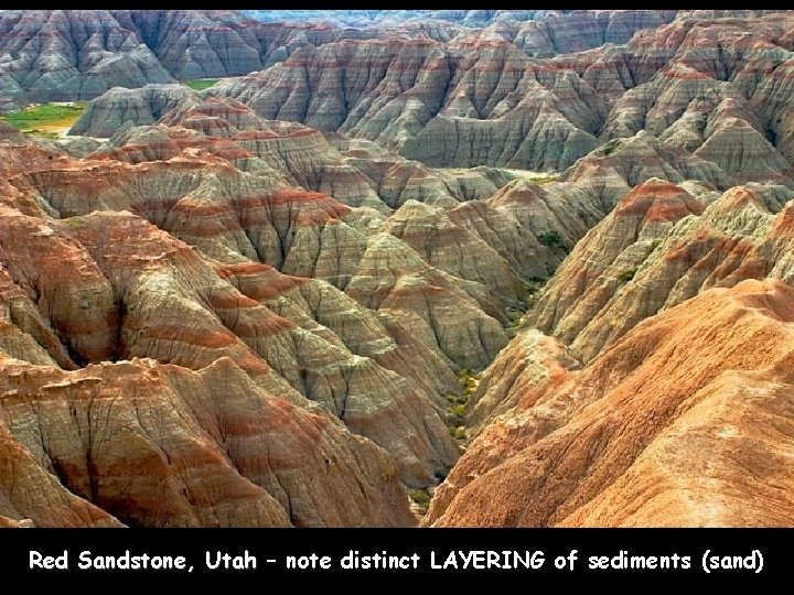 Red Sandstone, Utah – note distinct LAYERING of sediments (sand)