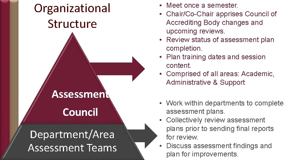 Organizational Structure Assessment Council Department/Area Assessment Teams • Meet once a semester. • Chair/Co-Chair
