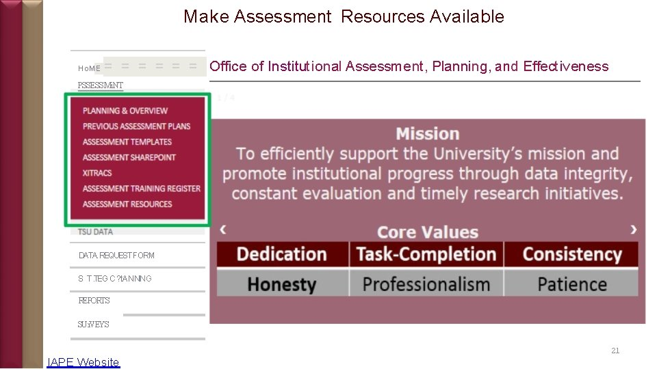 Make Assessment Resources Available Ho. ME = = = = Office of Institutional Assessment,