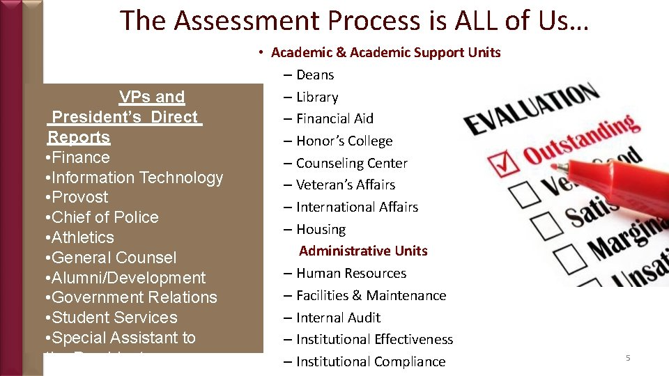 The Assessment Process is ALL of Us… VPs and President's Direct Reports • Finance