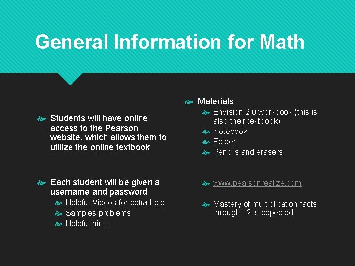 General Information for Math Materials Students will have online access to the Pearson website,