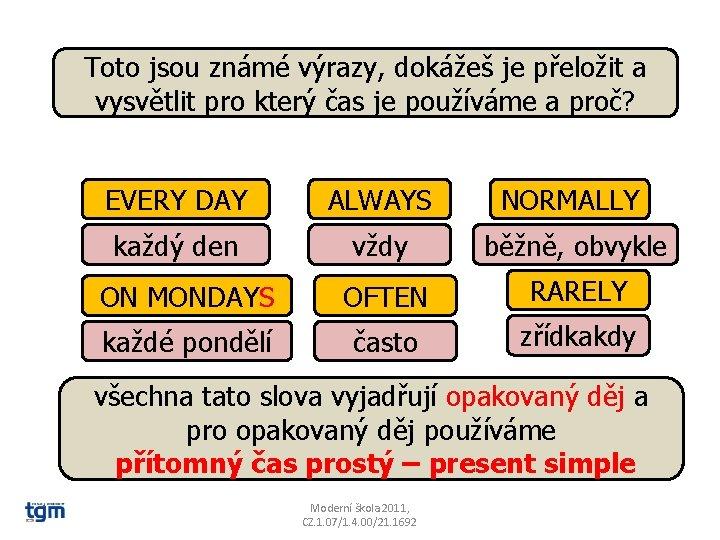 Toto jsou známé výrazy, dokážeš je přeložit a vysvětlit pro který čas je používáme