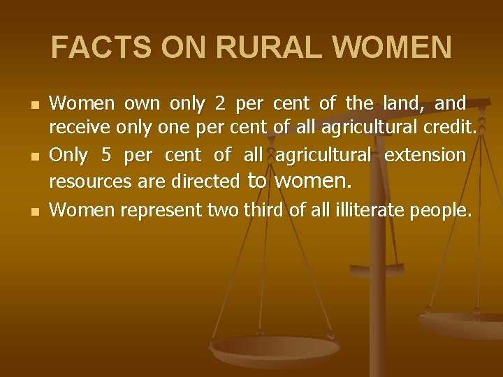 FACTS ON RURAL WOMEN n n n Women own only 2 per cent of