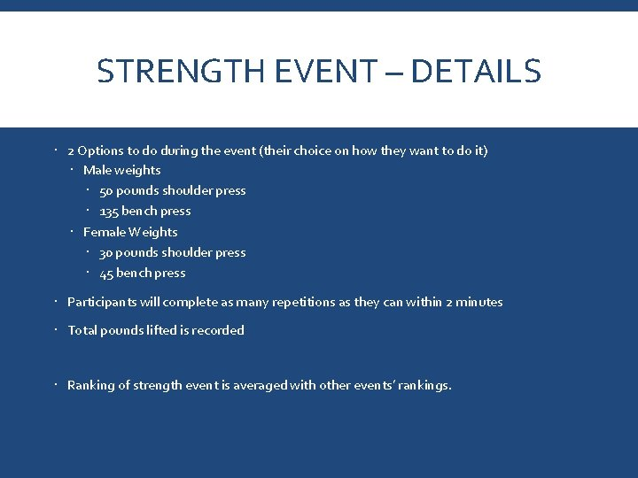 STRENGTH EVENT – DETAILS 2 Options to do during the event (their choice on