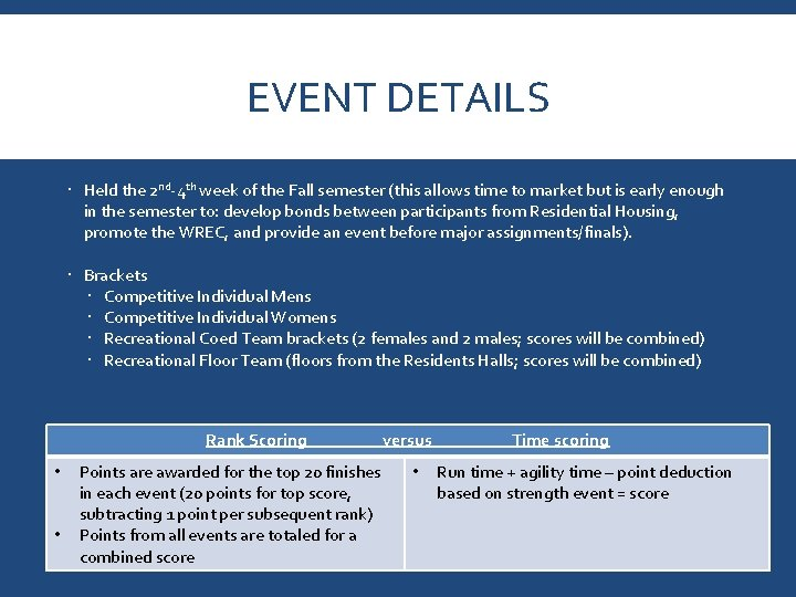 EVENT DETAILS Held the 2 nd-4 th week of the Fall semester (this allows
