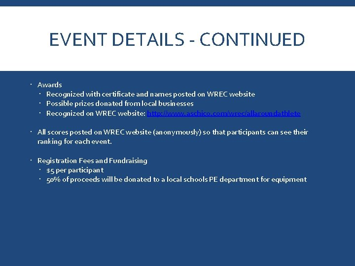 EVENT DETAILS - CONTINUED Awards Recognized with certificate and names posted on WREC website