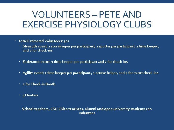 VOLUNTEERS – PETE AND EXERCISE PHYSIOLOGY CLUBS Total Estimated Volunteers: 30+ Strength event: 1